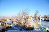stock photo of paysage  - Winter village at sunset - JPG