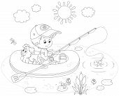 picture of fish pond  - Boy with his pup in an inflatable boat fishing on a pond - JPG