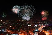 image of ekaterinburg  - View of night Ekaterinburg during fireworks from a skyscraper - JPG