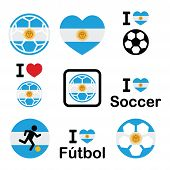 image of offside  - Soccer ball with flag of Argentina vector icons set isolated on white - JPG