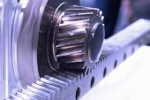 stock photo of differential  - Gear wheel transmits energy flat has a rack - JPG