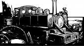 pic of battlefield  - Woodcut style World War one style light rail locomotive train on the battlefield - JPG