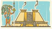picture of mayan  - Traditional Mayan Mural image of a Mayan Warrior standing next to a stepped pyramid - JPG