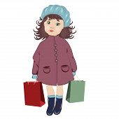 foto of beret  - Girl With Shopping Bags in blue berets - JPG