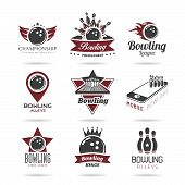 Постер, плакат: Bowling icon set 2