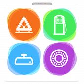 stock photo of ball bearing  - Car parts and accessories from left to right - 