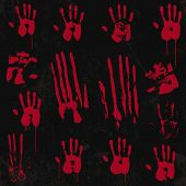 stock photo of bloody  - Bloody Hand Print set 01 - JPG