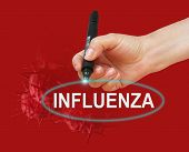 picture of influenza  - writing word INFLUENZA with marker on red background made in 2d software - JPG