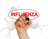 stock photo of influenza  - writing word INFLUENZA with marker on white background made in 2d software - JPG