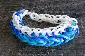 stock photo of loom  - Colorful Rainbow loom bracelet rubber bands fashion - JPG