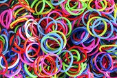 image of rubber band  - Colorful background Rainbow loom rubber bands fashion - JPG