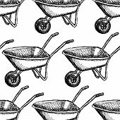 picture of hand-barrow  - Sketch barrow vector vintage seamless pattern eps 10 - JPG