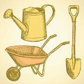 foto of hand-barrow  - Sketchwatering can shovel and barrow vector vintage background - JPG