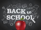 stock photo of red back  - Back to school poster with text on chalkboard and apple - JPG