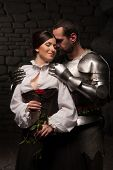 image of knights  - Full length portrait of a couple in historical costumes - JPG