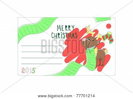 Envelope Christmas or Christmas Vector illustration