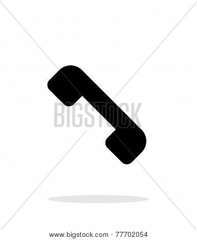 End the call. Telephone receiver icon on white background.