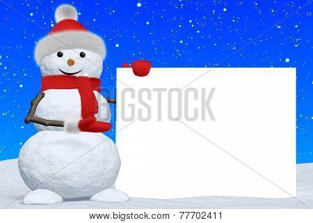 Snowman Shows Blank White Board Under Snowfall