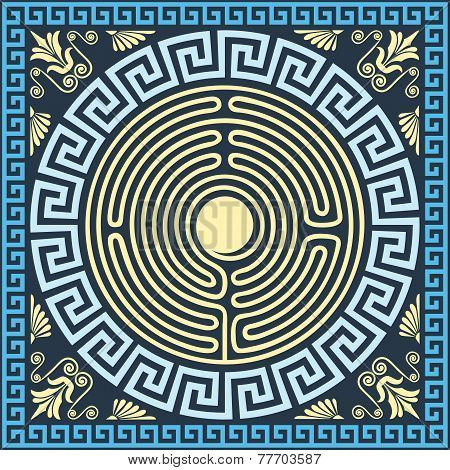 Vector Traditional Vintage Gold And Blue Greek Ornament (meander)