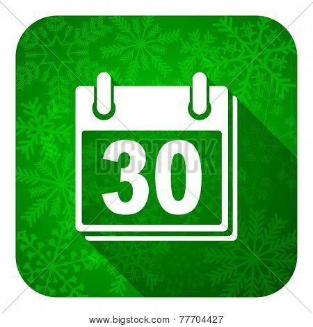 calendar flat icon, christmas button, organizer sign