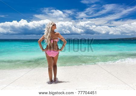 Woman In Bikini On Tropical Beach, Philippines