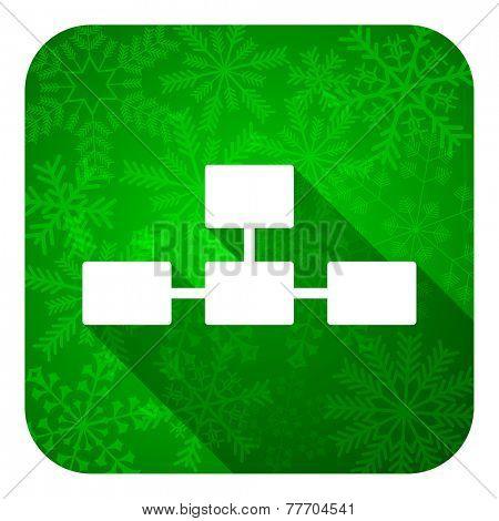 database flat icon, christmas button