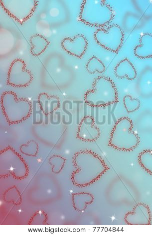 St.valentine Blue Color Background With Hearts