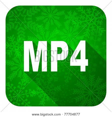 mp4 flat icon, christmas button