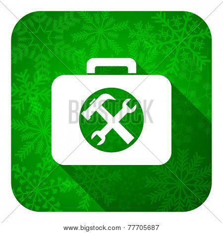 toolkit flat icon, christmas button, service sign