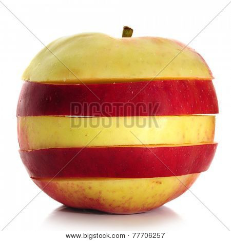 Sliced apple, studio isolated on white background