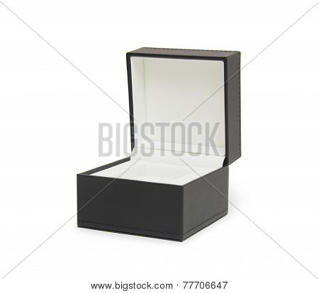 Black Open Gift Box Isolated On The White Background