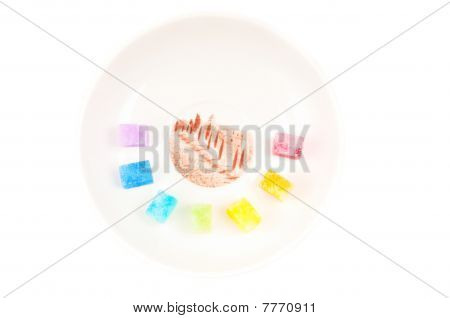 Multicolored Shugar On The Plate