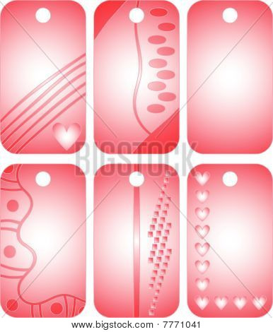 pink and white vector tags or labels