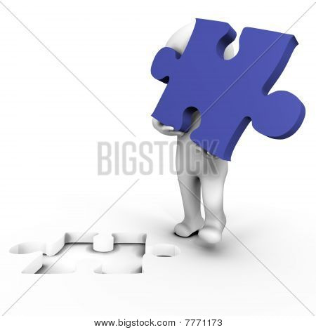 Human holding the missing puzzle piece - 3d image