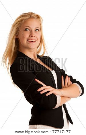 Portrait of young caucasian business woman isolated over white ceo