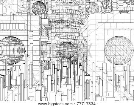 Futuristic Megalopolis City Structure Vector