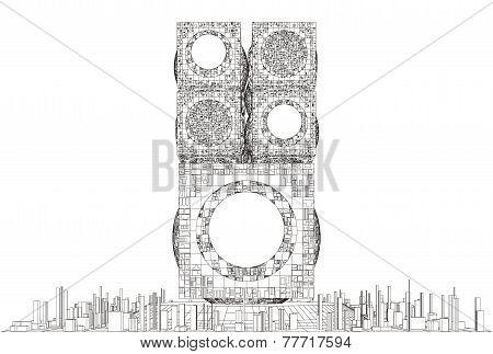 Futuristic Megalopolis City Skyscraper Structure