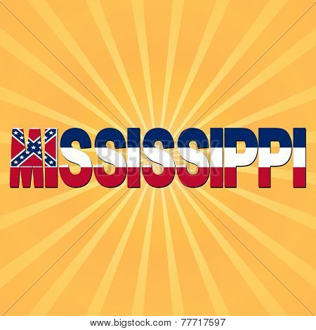 Mississippi flag text with sunburst illustration