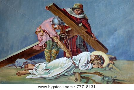 TRAVNIK, BOSNIA AND HERZEGOVINA - JUNE 11: 9th Stations of the Cross, Jesus falls the third time, Church of St. Aloysius in in Travnik, Bosnia and Herzegovina on June 11, 2014.