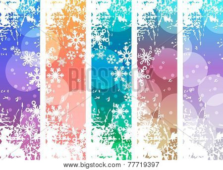 Set with four vertical winter banners. Soft colors.
