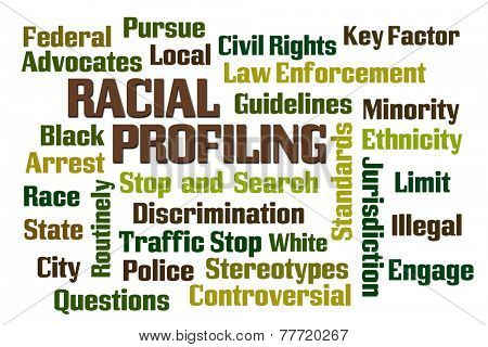 Racial Profiling word cloud on white background