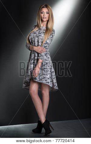 Fashionable Blonde Woman Posing