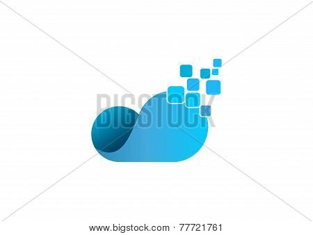 Cloud technology vector logo design template