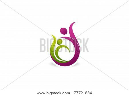 green beauty active body vector logo design template