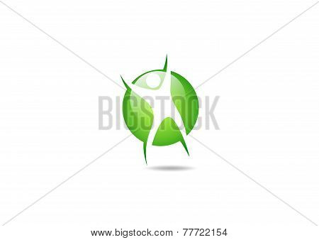 green body health  vector logo design template.