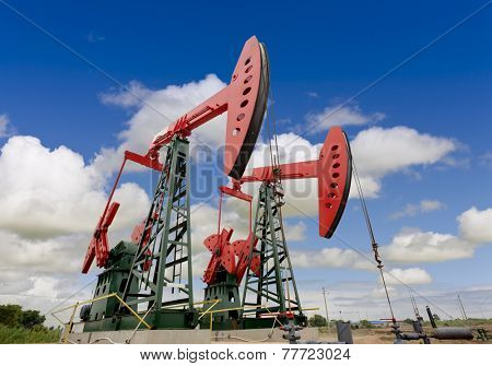 oil pump jacks on a oil field