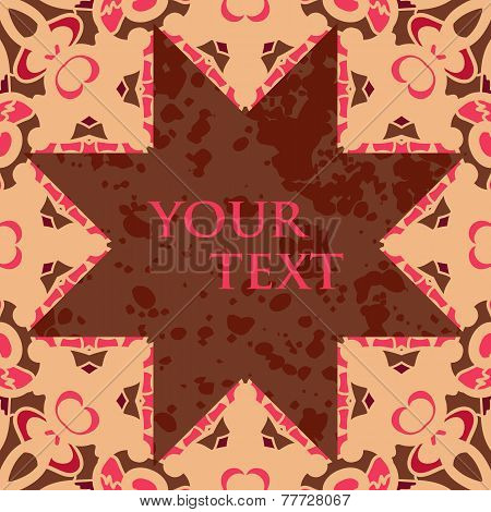 Broun star shaped blank frame for text, oriental design