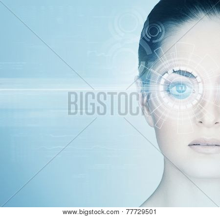Young woman with a digital laser hologram on her eyes (ophthalmology, eye surgery and identity scanning technology concept)
