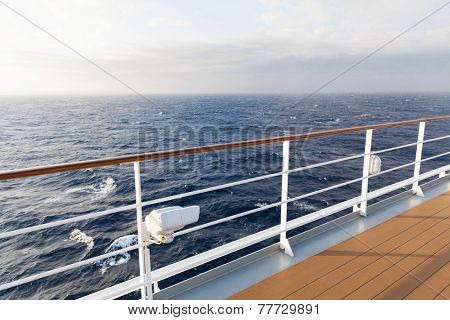 beautiful sea view from deck of cruise ship