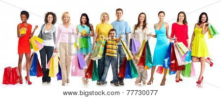 Beautiful women group with shopping bags isolated white background
